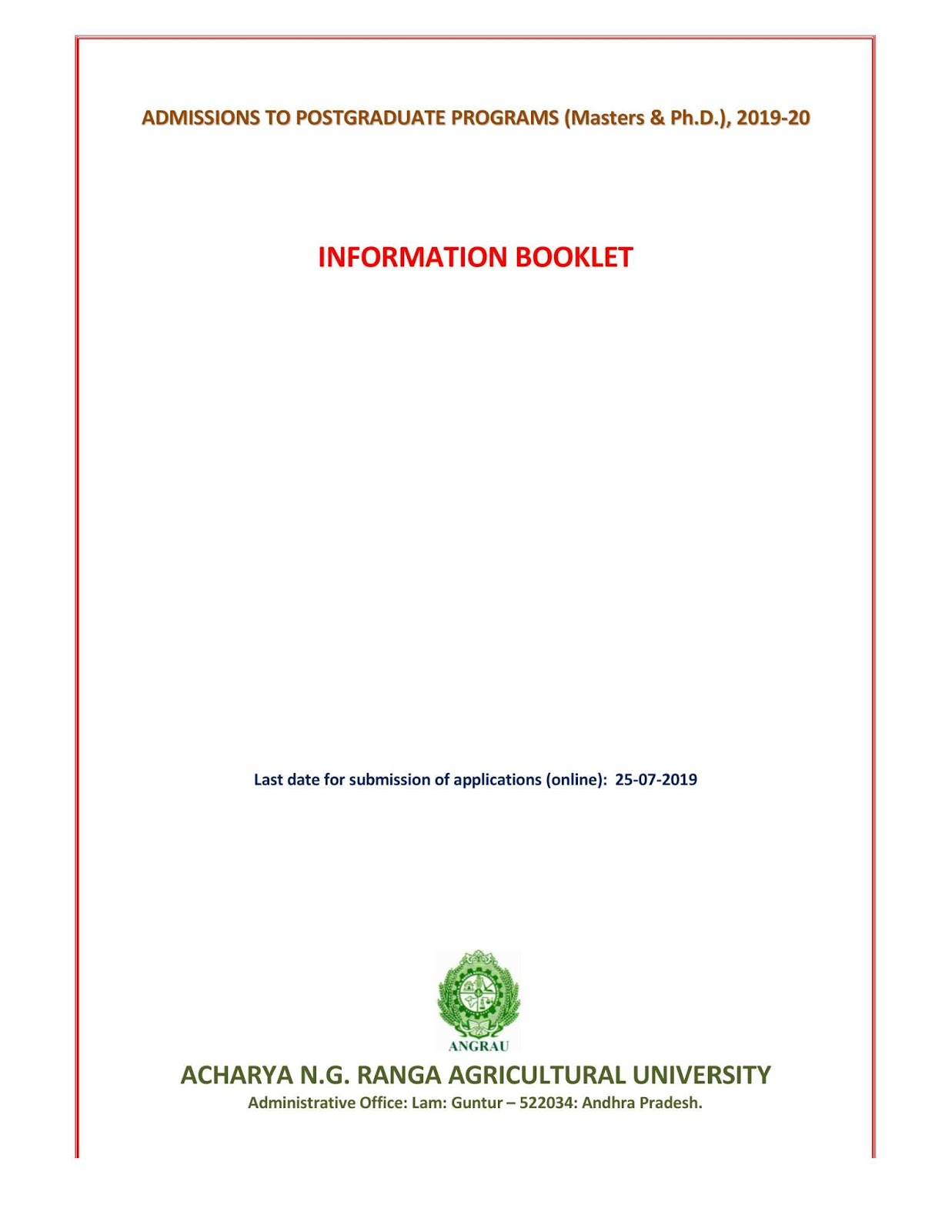 ANGRAU PG PhD Admission 2019 Notification Released,Online Application Form