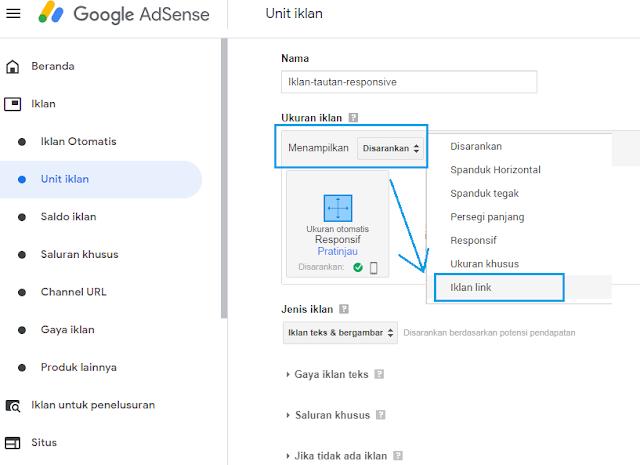 Cara Membuat Unit Iklan Tautan responsive Google AdSense