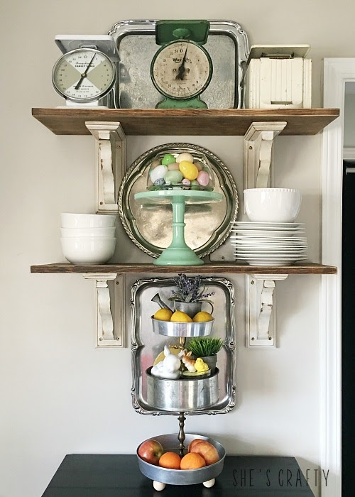 Spring Home Tour - farmhouse, Easter and vintage style- farmhouse shelving unit, Easter decor