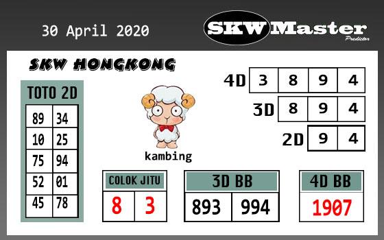 Prediksi HK Hari Ini 30 April 2020 - SKW Master HK