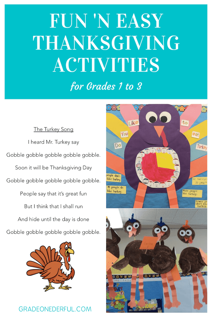 I have some Turkey fun for you! You'll receive the cutest turkey poem/song, directions for a long-legged turkey craft and directions for a turkey pie graph. These activities are perfect for the primary grades. The craft and graph require some prep, but they're easy and enjoyable for the kids!