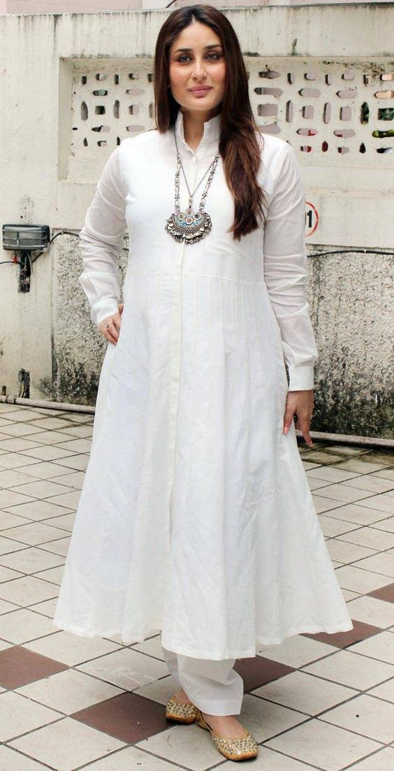 38c2cf5f0ff31 In a white anarkali suit with full sleeves and white pants Kareena kapoor  khan looked serene. i love how comfortable this look is and the statement  neck ...