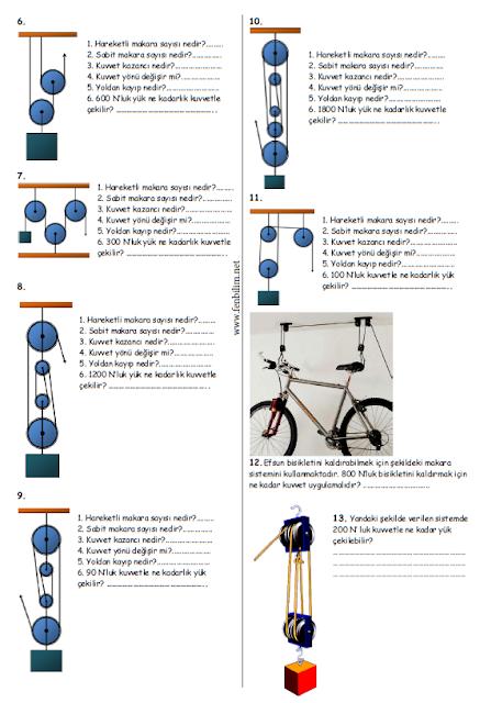 8 Sinif Basit Makineler Calisma Kagidi Fenbilim Net