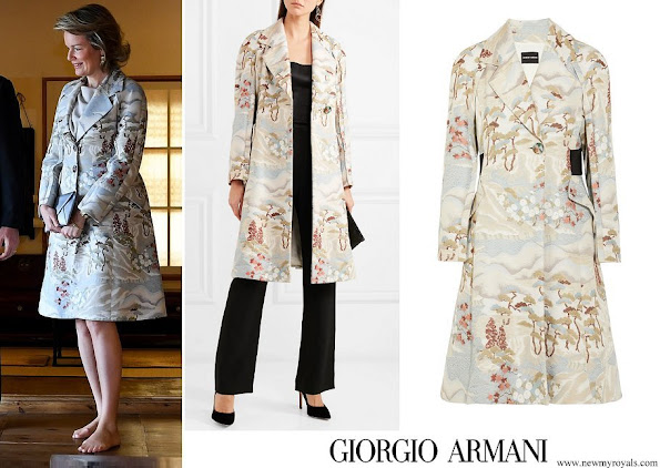 Queen Mathilde wore Giorgio Armani Crepe-paneled jacquard coat