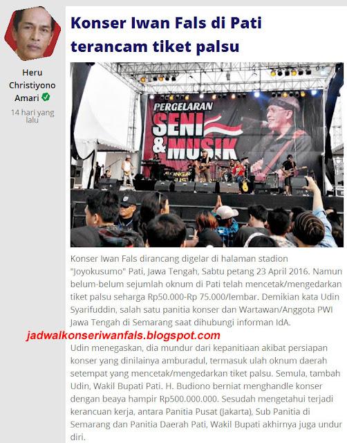 Tunda / Batal Konser Iwan Fals Pati Jawa Tengah