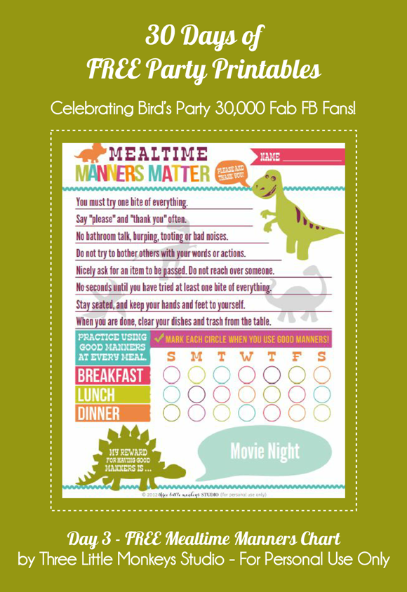Free Printable Mealtime Manners Chart  - via BirdsParty.com