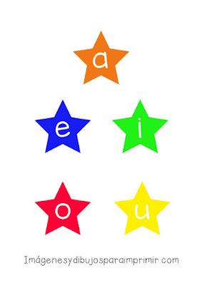 Vocales para imprimir y recortar en forma de estrella