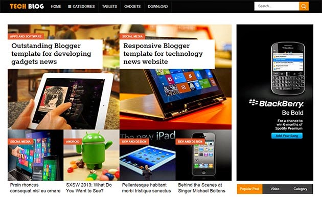 Tech Blog Responsive Blogger Template