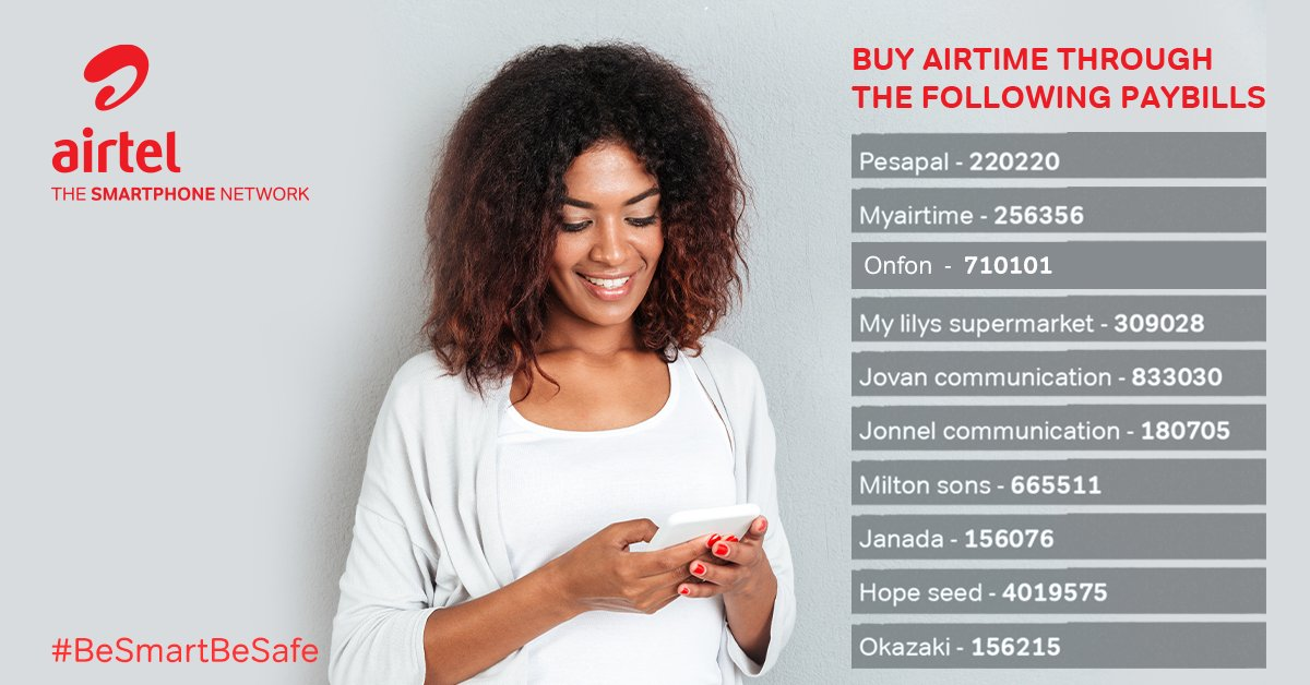 List Of 10 PAYBILL Numbers You Can Use To Buy Airtel Kenya Airtime