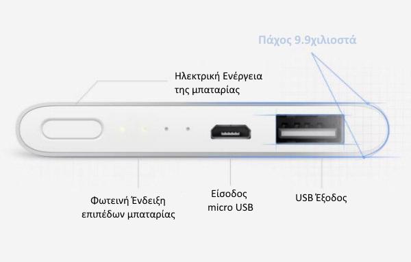 Xiaomi 5000mAh Ultra-thin 9.9χιλ. Power Bank