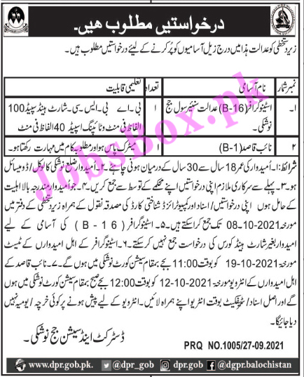 District and Session Courts Nushki Jobs 2021 in Pakistan