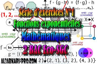 Série d'exercices N°1 Fonctions exponentielles,  Mathématiques, 2 Bac Sciences Économiques, 2 Bac Sciences de Gestion Comptable, Suites numériques, Limites et continuité, Dérivation et étude des fonctions, Fonctions logarithmiques, Fonctions exponentielles, Fonctions primitives et calcul intégral, Dénombrement et probabilités, Examens Nationaux Mathématiques, 2 bac, Examen National, baccalauréat, bac maroc, BAC, 2 éme Bac, Exercices, Cours, devoirs, examen nationaux, exercice, 2ème Baccalauréat, prof de soutien scolaire a domicile, cours gratuit, cours gratuit en ligne, cours particuliers, cours à domicile, soutien scolaire à domicile, les cours particuliers, cours de soutien, les cours de soutien, cours online, cour online.