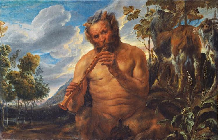 Jacob Jordaens - Satyr Playing the Pipe (Jupiter's Childhood) (c.1639 fragment)