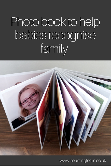 "Text saying ""photo book to help babies recognise family"" and a photograph of the photo book with all the pages fanned out"
