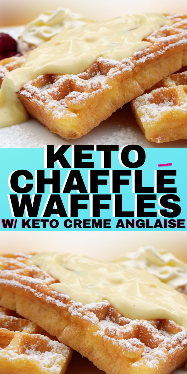 Keto Chaffle Waffles with Vanilla Creme Anglaise Sauce