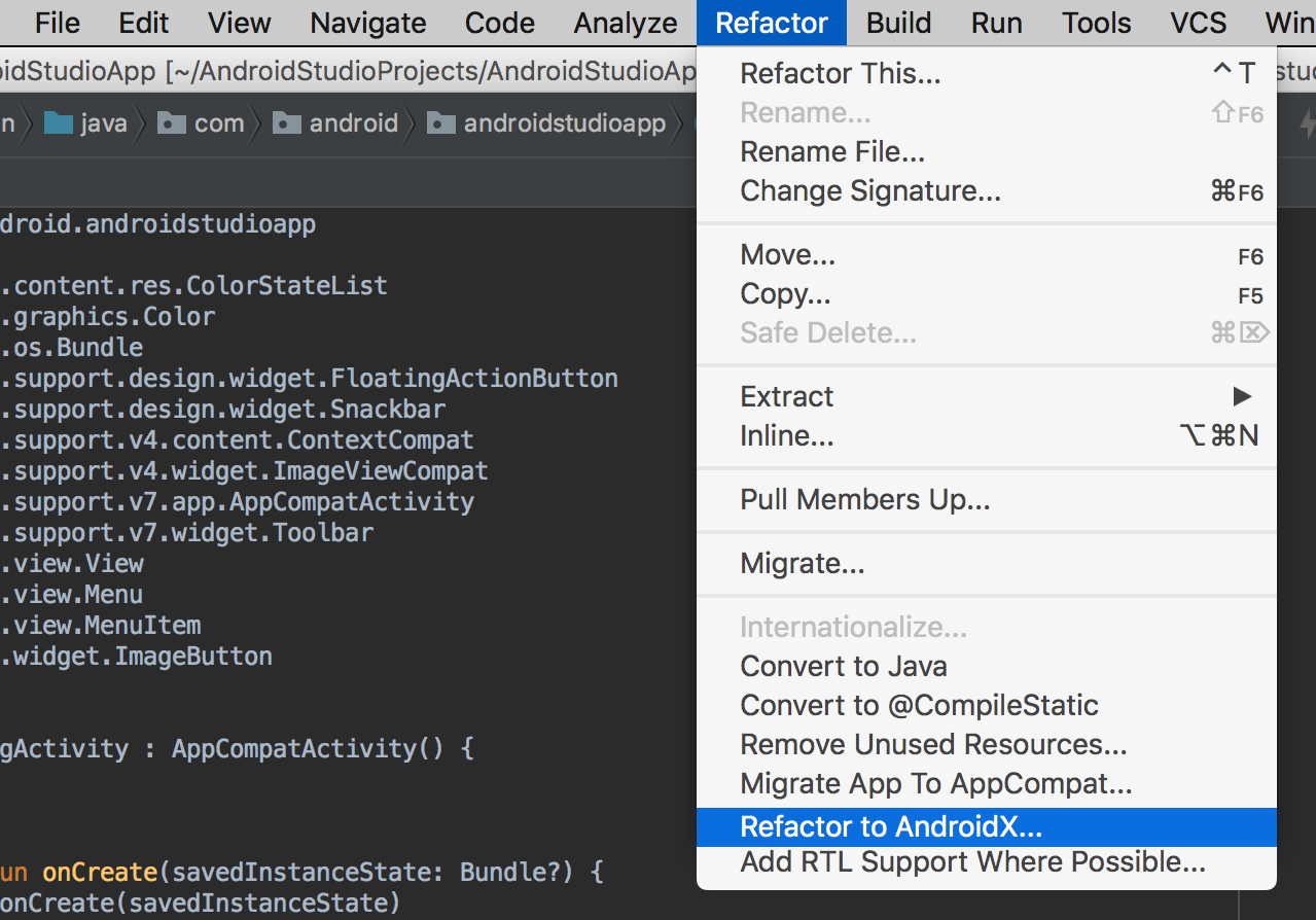 - Refactor to Androidx - Android Developers Blog: Android Studio 3.2 Canary
