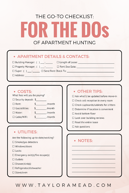 Apartment Hunting? I Made These Mistakes So You Won't Have To (+ Downloadable) - Taylor A Mead