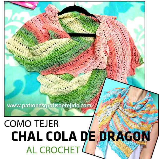 tutorial chal cola de dragon tejido con ganchillo