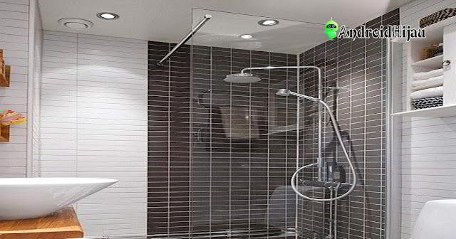 kamar mandi minimalis dengan ubin hitam putih