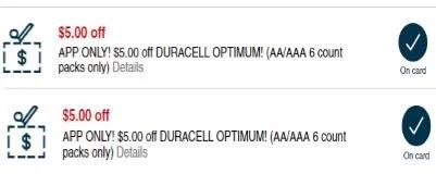 $5.00 Off Duracell Optimum Batteries CVS APP ONLY MFR Digital Coupon (go to CVS App)
