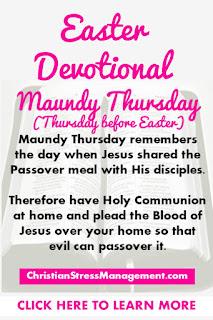 Easter Devotional for Pre Easter Thursday or Maudy Thursday