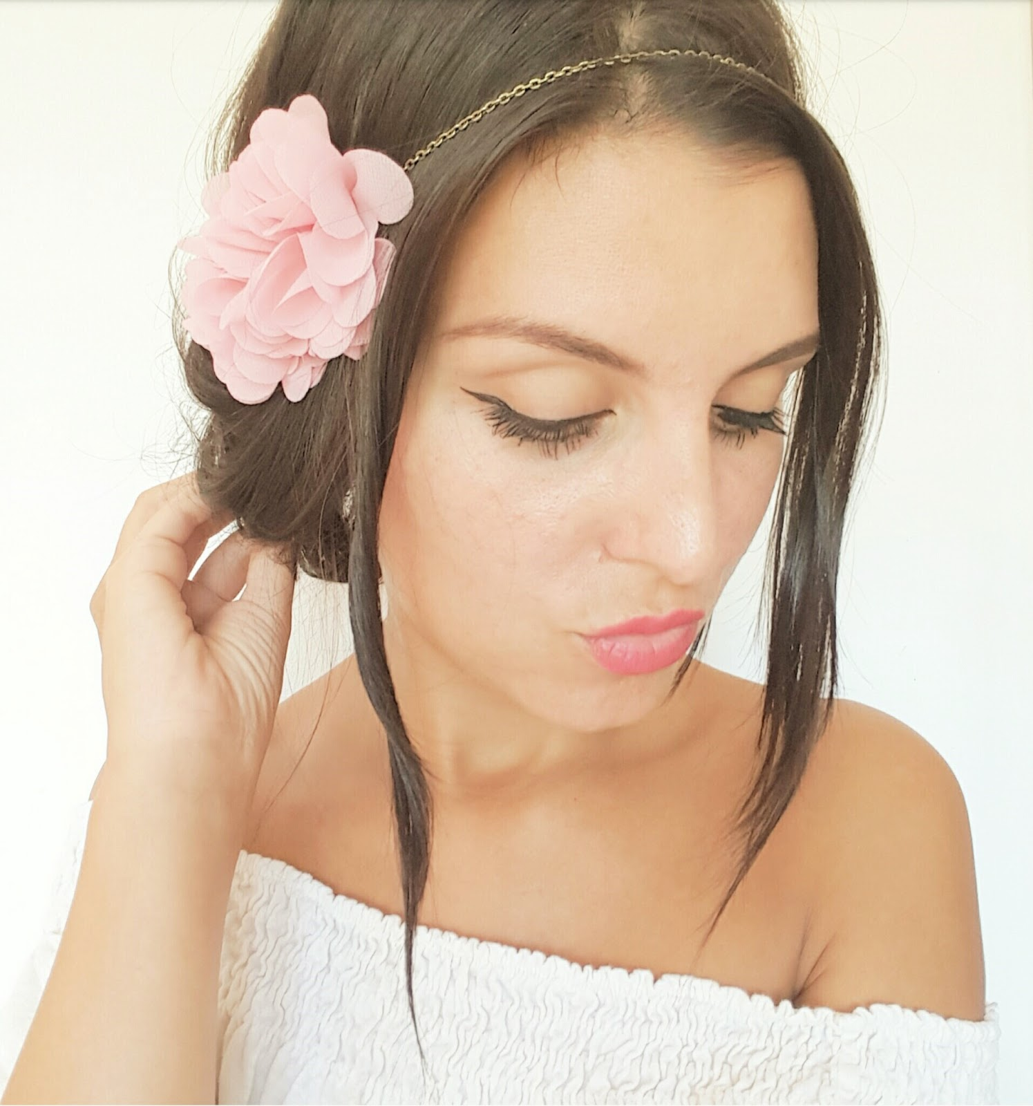 Headbands mariage champ tre boh me et peignes cheveux fleurs rose poudr style romantique - Headband mariage boheme ...