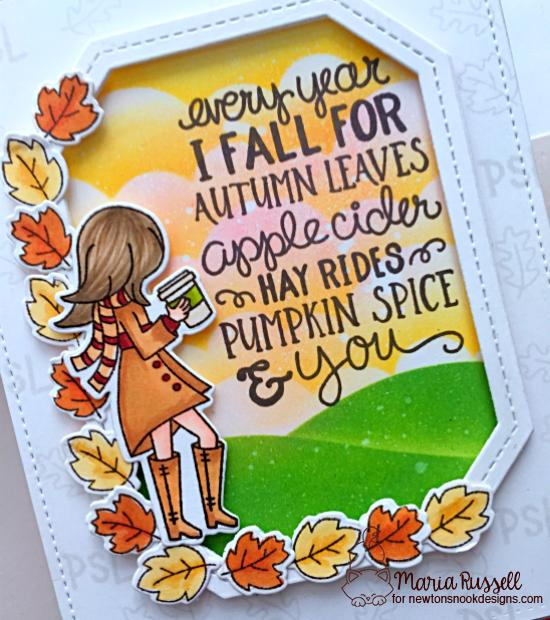 Pumpkin Spice and You Card by Maria Russell | Pumpkin Latte, Autumn Mice, Fall-ing For You Stamp Sets and Clouds Stencil by Newton's Nook Designs #newtonsnook #handmade