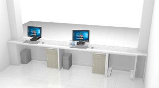 Interior Ruang Lobby Kantor - Kontraktor Interior Jawa Tengah - Meja Front Desk Granit