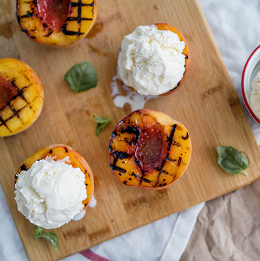 Cinnamon Sugar Butter Grilled Peaches