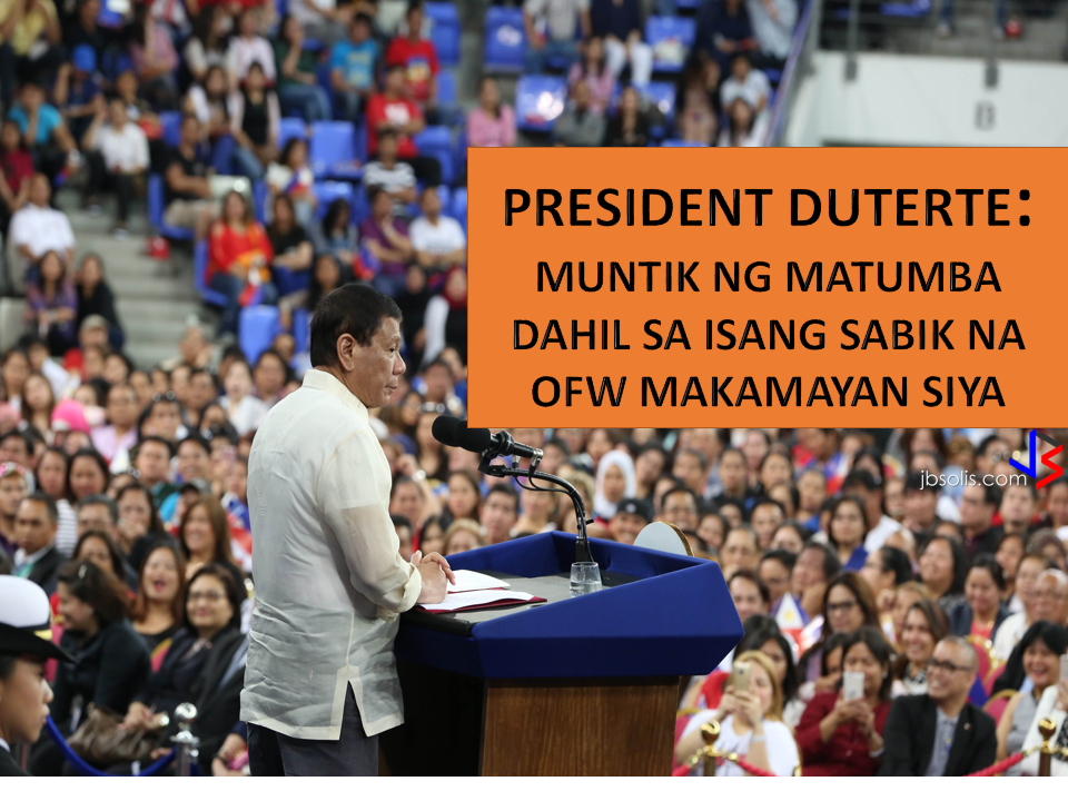 "early 7,000 adoring Filipinos applauded Philippine President Rodrigo R. Duterte as he delivered an hour-long impassioned speech punctuated with humour which was interrupted with countless ovations in the evening at Lusail Multipurpose Hall.  President Rodrigo Duterte nearly stumbled on Saturday as he tried to maintain his balance when some unidentified and overexcited Filipino worker accidentally pulled him as he was shaking hands inside the Lusail Sports Arena.  The president's guards, Cabinet secretaries, and even the Qatari royal guards rushed to Duterte's aid. The song ""IKAW"" which happens to be the President's favorite song was rendered by Doha-based singer Haina Uddin. The song he sang during his campaign day"