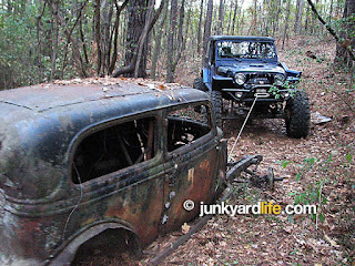 Keith Lively built a monster Jeep, just what was needed to haul an old 1934 Ford out of the deep woods.