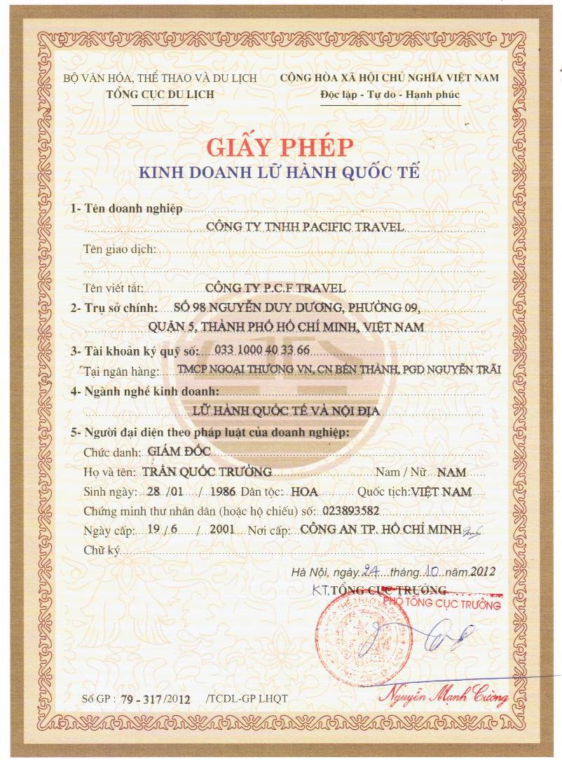 giấy phép kinh doanh pacific travel