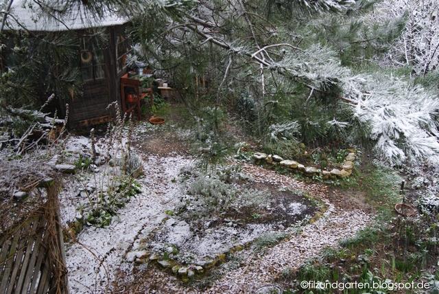 Schnee im Garten Blick von oben
