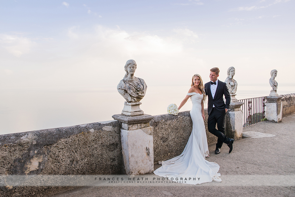 Wedding portrait on infinity terrace
