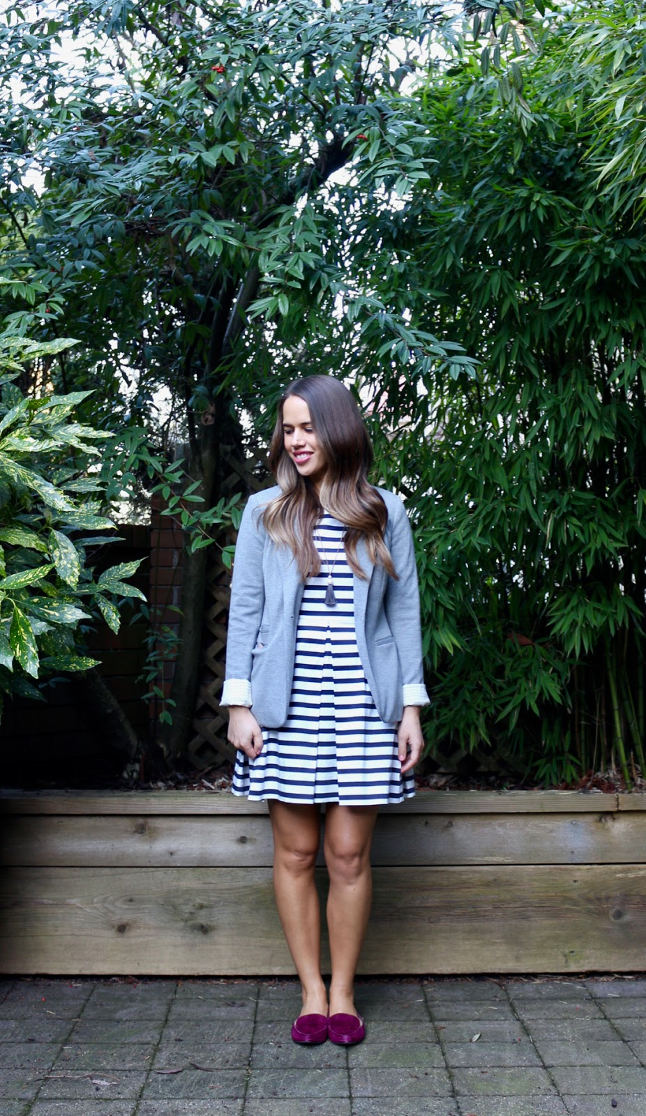 Jules in Flats - Gap Striped Fit Flare Dress with Blazer (Business Casual Spring Workwear on a Budget)