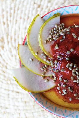 polenta crémeuse coulis carotte poire orange petit déjeuner