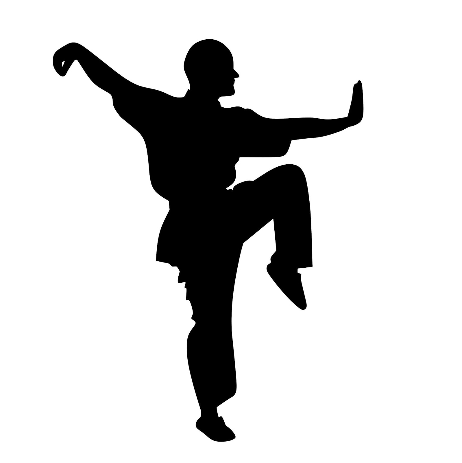 Illustration of Kung Fu pose silhouette