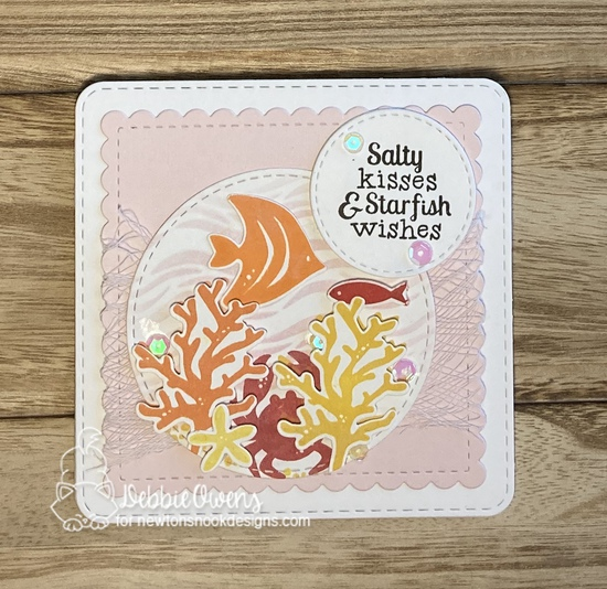 Salty kisses & Starfish wishes by Debbie features Frames Squared, Tranquil Tides, and Waves by Newton's Nook Designs; #newtonsnook