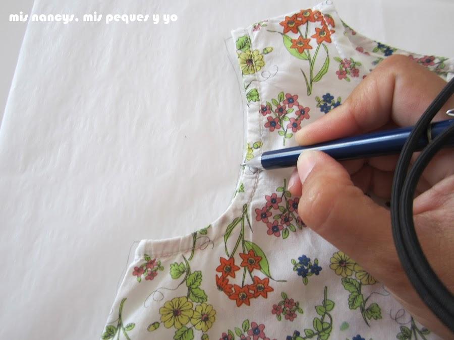 mis nancys, mis peques y yo, tutorial blusa sin mangas niña (patrón gratis), marcar sisa y cuello