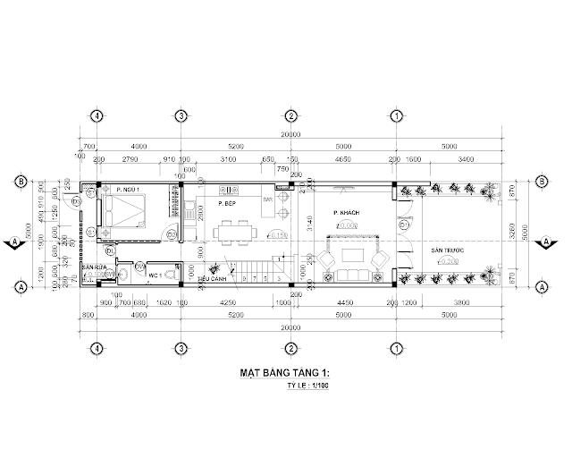 Bố trí mặt bằng tầng trệt nhà phố 5x 20 mét