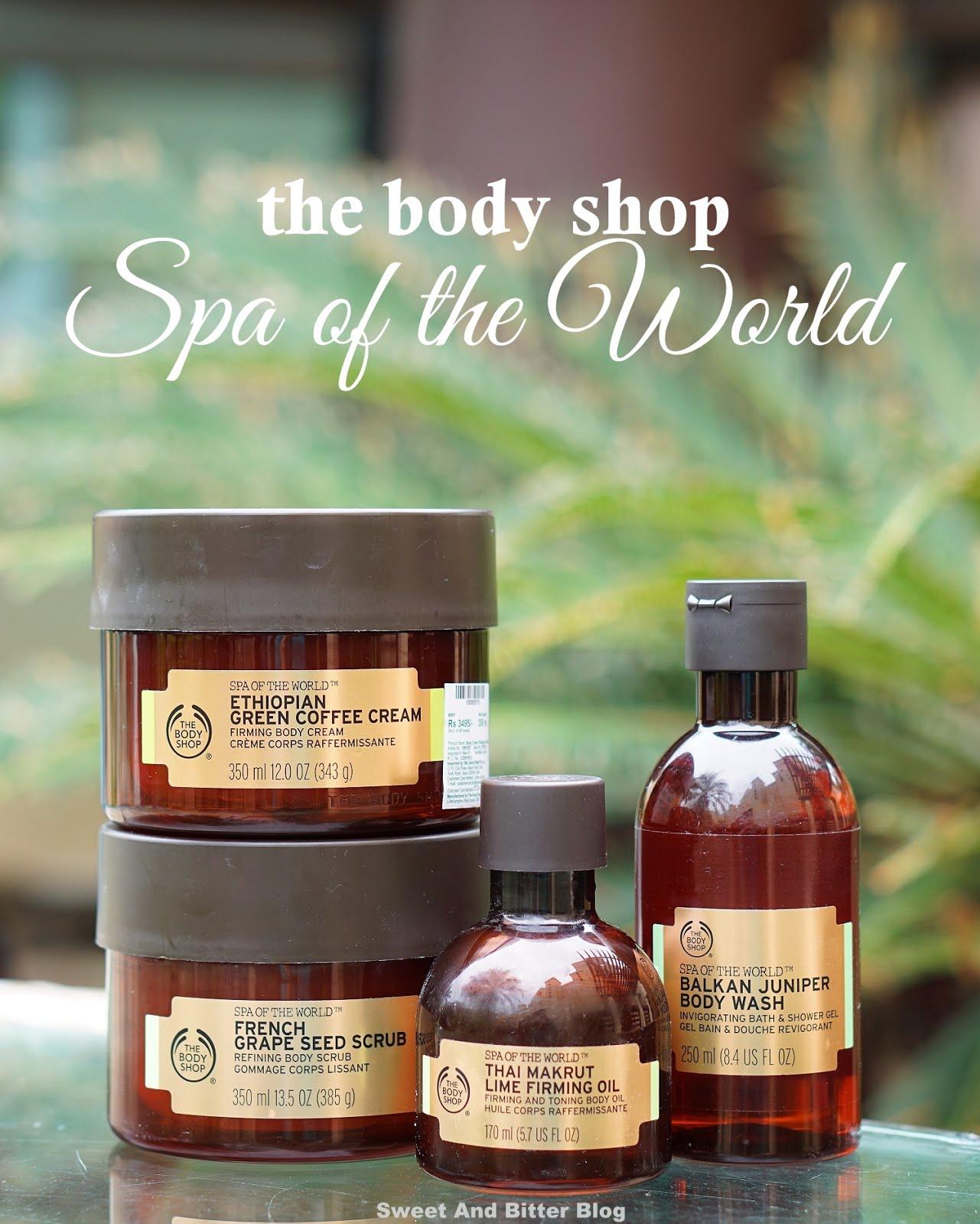 The Body Shop Spa of the World French Grape Seed Scrub, Ethiopian Green Coffee Cream, Thai Makrut Lime Firming Oil, Balkan Juniper Body Wash Review India