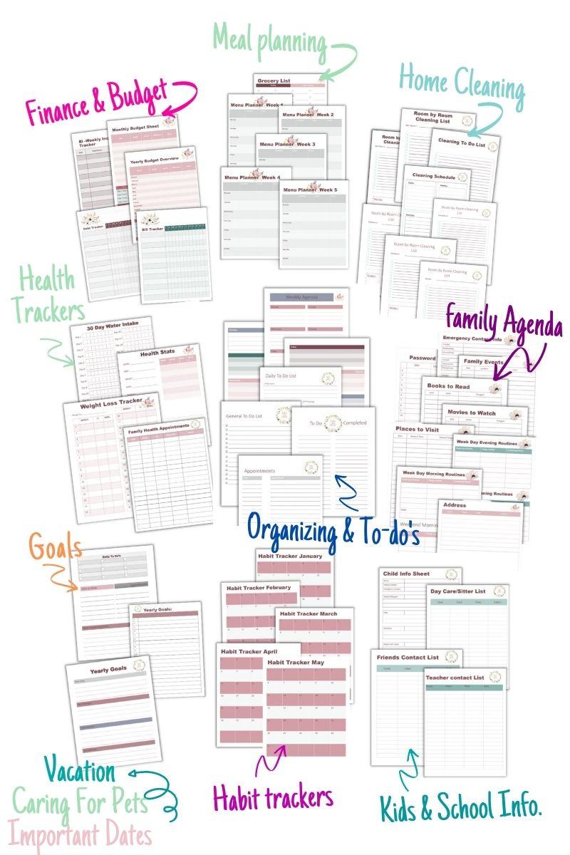 printable home management binder for organization