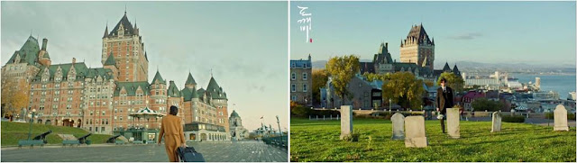quebec canada hotel Fairmont Le Chateau Frontenac hill tombstone