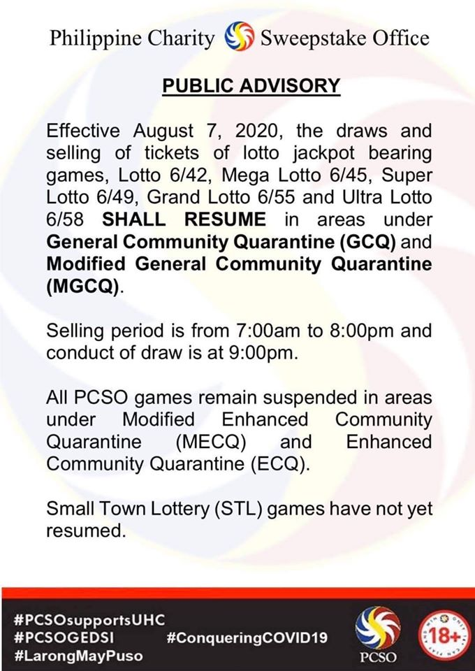PCSO to resume Lotto Operations on August 7, 2020