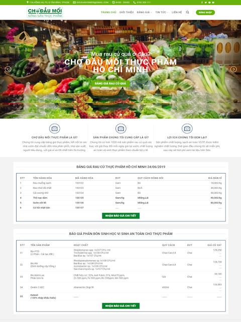 Dự Án  dịch vụ tích hợp getcode bảng giá chợ đầu mối thực phẩm