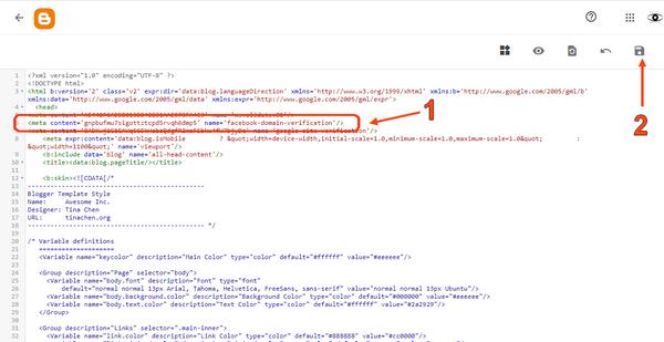 """Insérez la clef que vous a donnée Facebook dans votre site blogspot.  Vous allez coller le """"Meta-Tag"""" de Facebook dans le code votre site blogspot. Puis vous allez confirmer  Accédez au code HTML de votre site blogspot 1. Cliquez sur """"Thème"""" 2. Cliquez sur le menu déroulant (flêche vers le bas), pas sur """"CUSTOMIZE"""". Sous <head>, faites une fois """"Enter"""" pour liérer une ligne. 1. Collez le Meta-tag 2. N'oubliez pas de sauvegarder."""