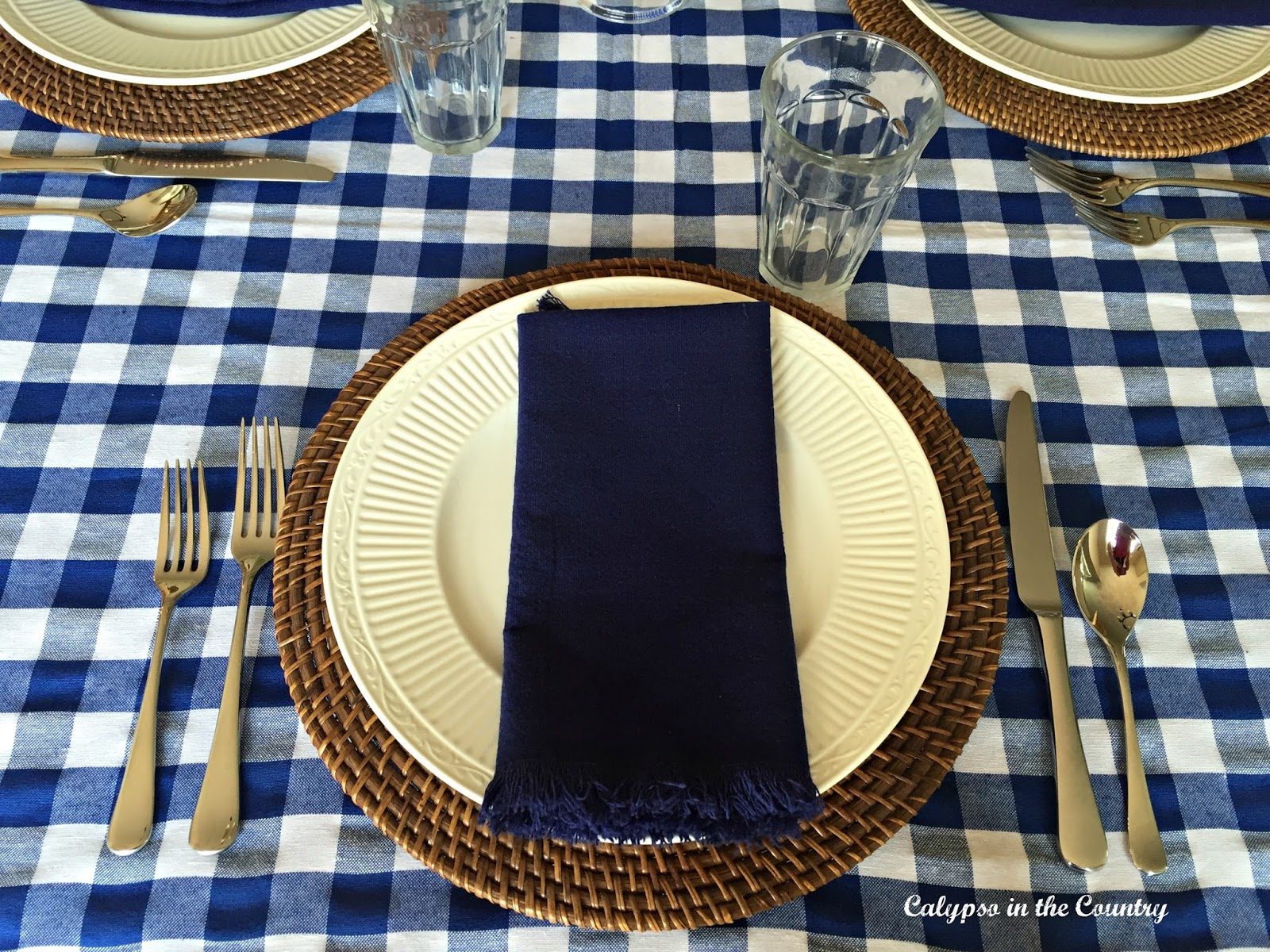 Casual blue and white table setting