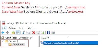 SQL Server 2016 Yenilikleri - Always Encrypted - Windows Certificate Store