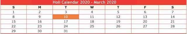 Holi Calendar 2020 - March 2020
