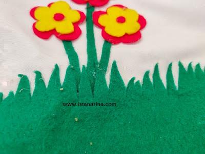 cara membuat hiasan tempel flanel rumput